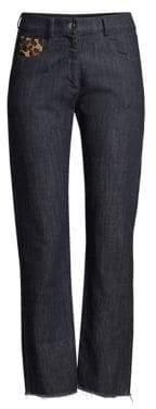 Michael Kors Straight-Leg Patch Jeans