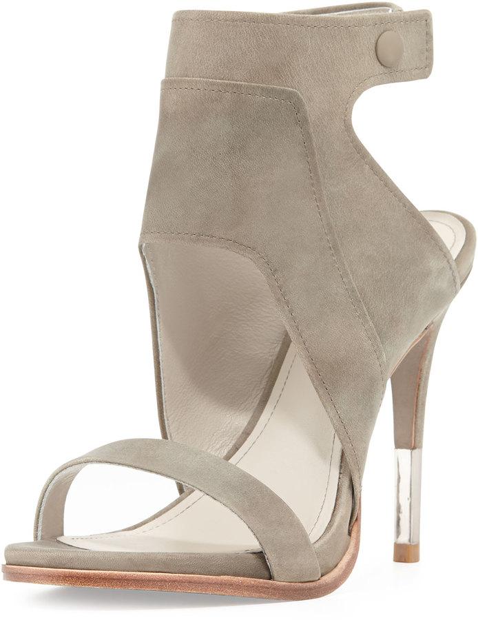 Pour la Victoire Venga Leather Ankle-Wrap Sandal, Fog