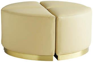 Set of 4 Nesting Ottomans - Cream Leather - Celerie Kemble