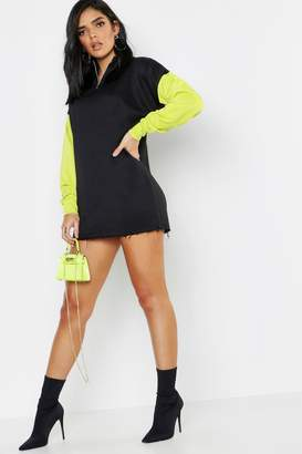 boohoo Neon Colour Block Zip Detail Sweat Dress