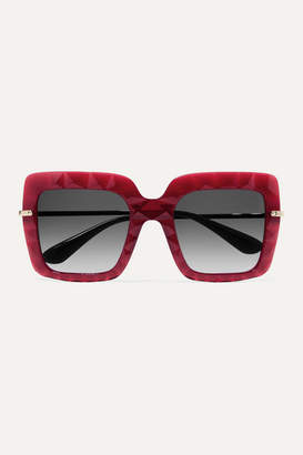 Dolce & Gabbana Square-frame Acetate And Gold-tone Sunglasses - Red