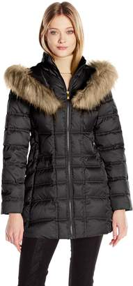 3cb18d352c1 Betsey Johnson Women s 3 4 Puffer with Corset Side and Faux Fur Heart Hood