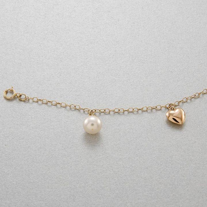 14k Gold Freshwater Cultured Pearl & Heart Charm Bracelet