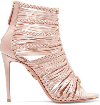 Aquazzura Goddess Braided Satin Sandals - Blush