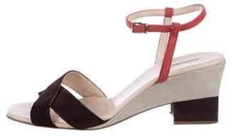 Giorgio Armani Suede Crossover Sandals