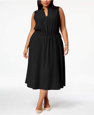 Anne Klein Plus Size Split-Neck Flared Midi Dress