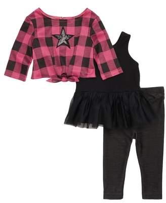 Pippa & Julie Plaid Sequin Star Sweater, Tutu Tunic & Leggings Set