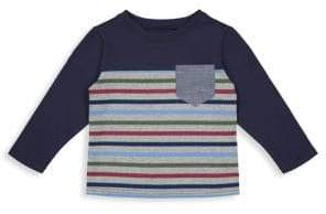 Andy & Evan Little Boy's& Boy's Colorblock Stripe Pocket Long-Sleeve Tee