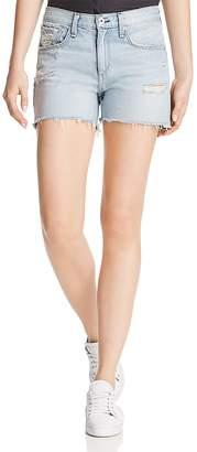 Rag & Bone Frayed-Hem Boyfriend Denim Shorts