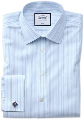 Charles Tyrwhitt Slim Fit Non-Iron Blue Multi Stripe Cotton Dress Shirt Single Cuff Size 15/33