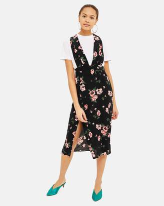 Topshop Floral Midi Pinafore Dress