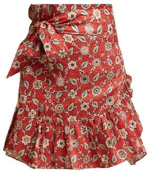 Etoile Isabel Marant Tempster Floral Print Cotton Wrap Skirt - Womens - Red