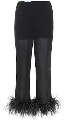 Prada Feather-trimmed silk trousers
