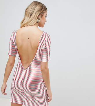 PrettyLittleThing exclusive striped low back t-shirt dress