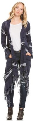 Women's E by Elan Striped Fringe Cardigan $88 thestylecure.com