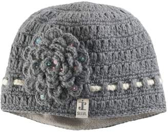 Sijjl Women's SIJJL Wool Crochet Sequined Flower Beanie
