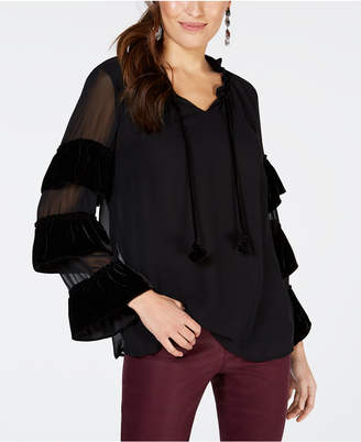 Style&Co. Style & Co Velvet-Trimmed Peasant Blouse