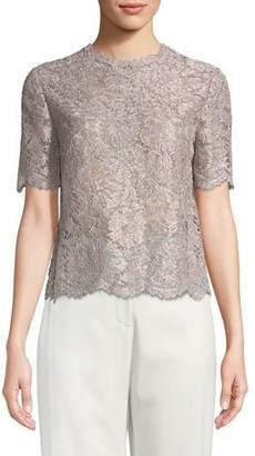 Valentino Short-Sleeve Lurex® Metallic Lace Blouse