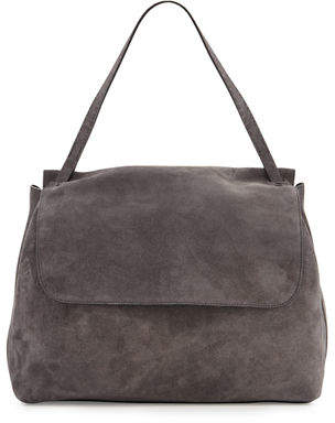 The Row Suede Hunting Bag 14, Dark Gray