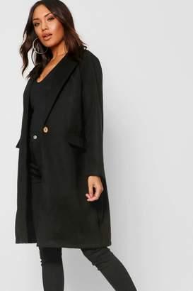 boohoo Collared Oversize Pocket Wool Look Coat