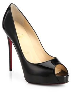 Christian Louboutin New Very Prive 120 Patent Leather Peep Toe Pumps $795 thestylecure.com