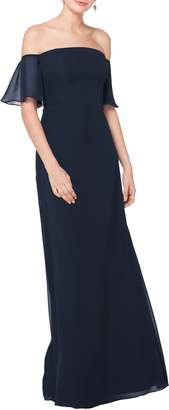 #Levkoff Off the Shoulder Fluted Sleeve Chiffon Gown