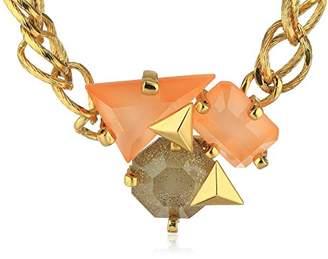 Erickson Beamon Rocks Gold Center Cluster Necklace