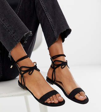 Miss Selfridge flat sandals with ankle detail in black