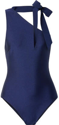 Zimmermann Bowie Tie-neck One-shoulder Swimsuit - Navy