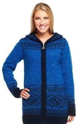 Aran Craft Wool Long Intarsia Zip Hoodie