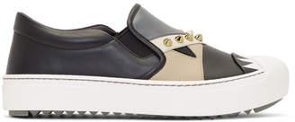 Fendi Black Bag Bugs Slip-On Sneakers