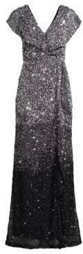 Parker Black Carmela Beaded Column Gown