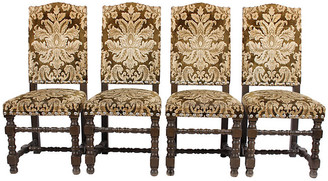 One Kings Lane Vintage French Damask Dining Chairs - Set of 4 - Blink Home Vintique