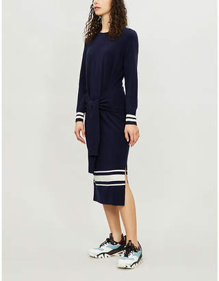 Sandro Bryone contrast-striped wool and cashmere-blend dress