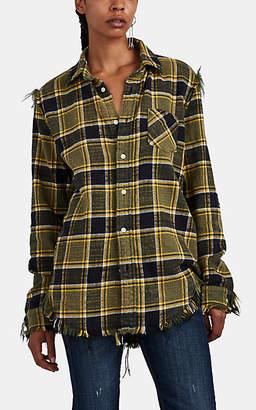 R 13 Women's Shredded Plaid Cotton Flannel Shirt - Yellow
