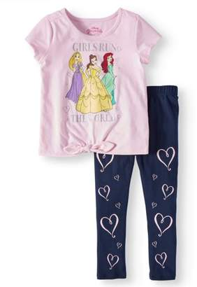 Disney Princess Belle, Rapunzel, and Ariel Tie-Front Tee and Capri Legging, 2-Piece Outfit Set (Little Girls)