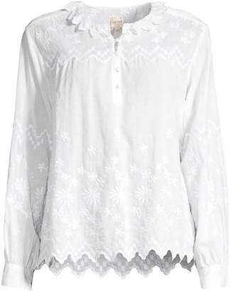 b1526cdecf4498 Rebecca Taylor Embroidered Cotton Boho Blouse