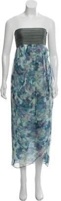Elizabeth and James Silk Strapless Midi Dress Blue Silk Strapless Midi Dress