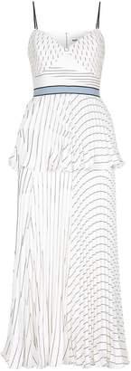 Self-Portrait Pleated Striped Midi Dress