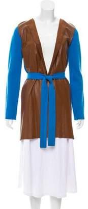 Allude Cashmere Leather Trim Cardigan Blue Cashmere Leather Trim Cardigan
