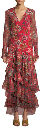 Alexis Solace Tiered Floral Wrap Flounce Dress