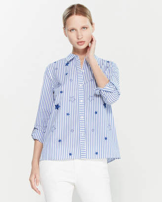 Rafaella Petite Star Stripe Long Sleeve Shirt