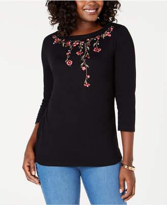 Karen Scott Embroidered-Trim Top