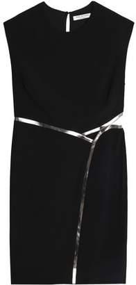 Halston Open-Back Metallic-Trimmed Crepe Mini Dress