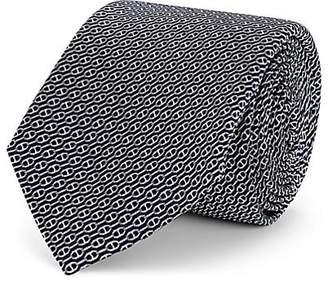 Barneys New York Men's Chain-Link-Pattern Silk Jacquard Necktie - Navy