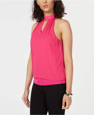 Bar III Mock-Neck Keyhole Top