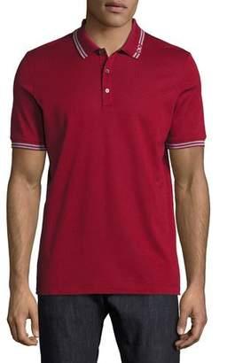 Salvatore Ferragamo Men's Cotton Pique 3-Button Polo Shirt with Gancini Detail on Collar, Red