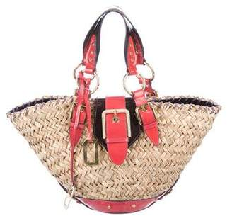 Dolce & Gabbana Patent Leather-Trimmed Straw Bag