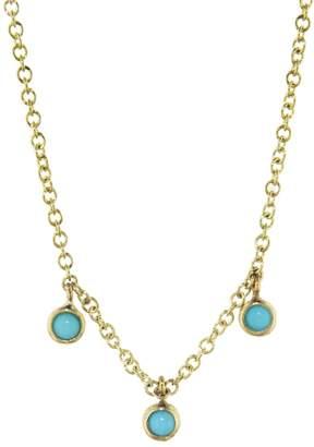 Jennifer Meyer Mini Bezel Turquoise Trio Dangle Necklace