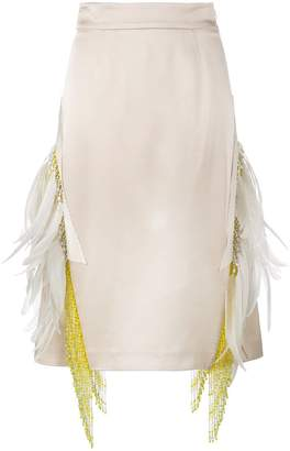 Prada feather embellished beaded skirt